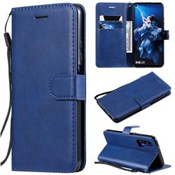 Retro Greek Classic Smooth PU Leather Wallet Phone Case for Huawei Honor 20 - Blue