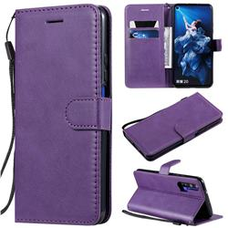 Retro Greek Classic Smooth PU Leather Wallet Phone Case for Huawei Honor 20 - Purple