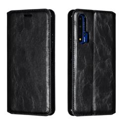 Retro Slim Magnetic Crazy Horse PU Leather Wallet Case for Huawei Honor 20 - Black