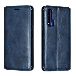 Retro Slim Magnetic Crazy Horse PU Leather Wallet Case for Huawei Honor 20 - Blue