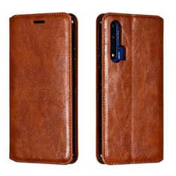 Retro Slim Magnetic Crazy Horse PU Leather Wallet Case for Huawei Honor 20 - Brown
