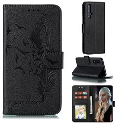 Intricate Embossing Lychee Feather Bird Leather Wallet Case for Huawei Honor 20 - Black