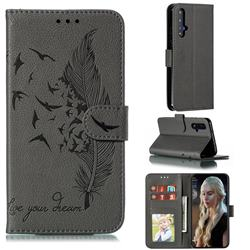Intricate Embossing Lychee Feather Bird Leather Wallet Case for Huawei Honor 20 - Gray