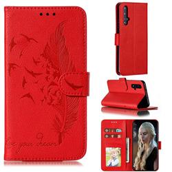 Intricate Embossing Lychee Feather Bird Leather Wallet Case for Huawei Honor 20 - Red