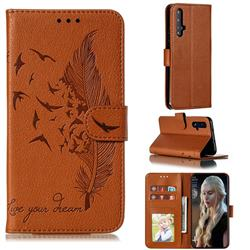 Intricate Embossing Lychee Feather Bird Leather Wallet Case for Huawei Honor 20 - Brown