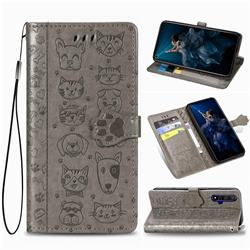 Embossing Dog Paw Kitten and Puppy Leather Wallet Case for Huawei Honor 20 - Gray