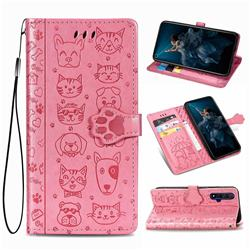 Embossing Dog Paw Kitten and Puppy Leather Wallet Case for Huawei Honor 20 - Pink