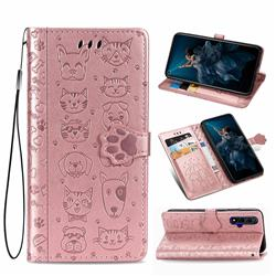 Embossing Dog Paw Kitten and Puppy Leather Wallet Case for Huawei Honor 20 - Rose Gold