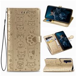 Embossing Dog Paw Kitten and Puppy Leather Wallet Case for Huawei Honor 20 - Champagne Gold