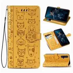 Embossing Dog Paw Kitten and Puppy Leather Wallet Case for Huawei Honor 20 - Yellow