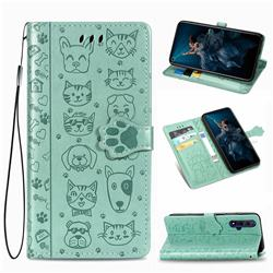 Embossing Dog Paw Kitten and Puppy Leather Wallet Case for Huawei Honor 20 - Green