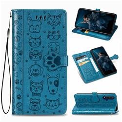 Embossing Dog Paw Kitten and Puppy Leather Wallet Case for Huawei Honor 20 - Blue