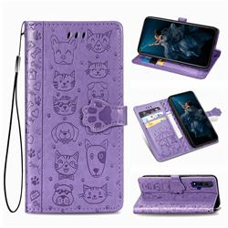 Embossing Dog Paw Kitten and Puppy Leather Wallet Case for Huawei Honor 20 - Purple