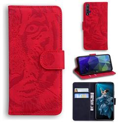 Intricate Embossing Tiger Face Leather Wallet Case for Huawei Honor 20 - Red