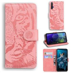 Intricate Embossing Tiger Face Leather Wallet Case for Huawei Honor 20 - Pink