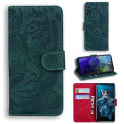 Intricate Embossing Tiger Face Leather Wallet Case for Huawei Honor 20 - Green