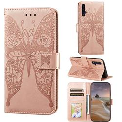 Intricate Embossing Rose Flower Butterfly Leather Wallet Case for Huawei Honor 20 - Rose Gold