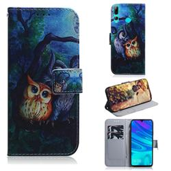 Oil Painting Owl PU Leather Wallet Case for Huawei Honor 20 Lite