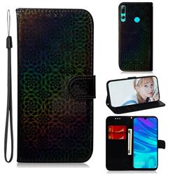 Laser Circle Shining Leather Wallet Phone Case for Huawei Honor 20 Lite - Black