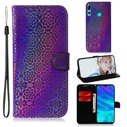 Laser Circle Shining Leather Wallet Phone Case for Huawei Honor 20 Lite - Purple