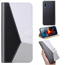 Tricolour Stitching Wallet Flip Cover for Huawei Honor 20 Lite - Black