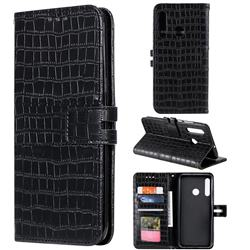 Luxury Crocodile Magnetic Leather Wallet Phone Case for Huawei Honor 20 Lite - Black