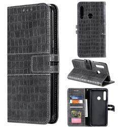 Luxury Crocodile Magnetic Leather Wallet Phone Case for Huawei Honor 20 Lite - Gray