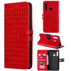 Luxury Crocodile Magnetic Leather Wallet Phone Case for Huawei Honor 20 Lite - Red