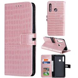 Luxury Crocodile Magnetic Leather Wallet Phone Case for Huawei Honor 20 Lite - Rose Gold