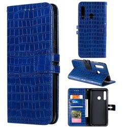 Luxury Crocodile Magnetic Leather Wallet Phone Case for Huawei Honor 20 Lite - Blue