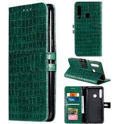 Luxury Crocodile Magnetic Leather Wallet Phone Case for Huawei Honor 20 Lite - Green
