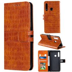 Luxury Crocodile Magnetic Leather Wallet Phone Case for Huawei Honor 20 Lite - Brown