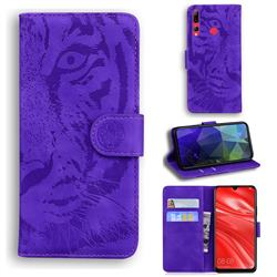 Intricate Embossing Tiger Face Leather Wallet Case for Huawei Honor 20 Lite - Purple