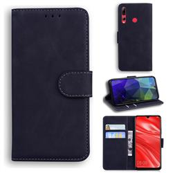 Retro Classic Skin Feel Leather Wallet Phone Case for Huawei Honor 20 Lite - Black
