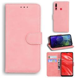 Retro Classic Skin Feel Leather Wallet Phone Case for Huawei Honor 20 Lite - Pink