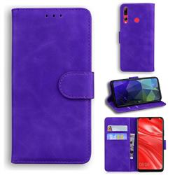 Retro Classic Skin Feel Leather Wallet Phone Case for Huawei Honor 20 Lite - Purple