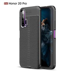 Luxury Auto Focus Litchi Texture Silicone TPU Back Cover for Huawei Honor 20 Pro - Black