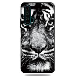 White Tiger 3D Embossed Relief Black TPU Cell Phone Back Cover for Huawei Honor 20 Pro