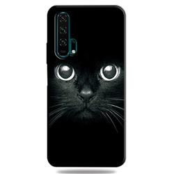 Bearded Feline 3D Embossed Relief Black TPU Cell Phone Back Cover for Huawei Honor 20 Pro