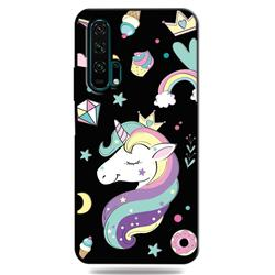 Candy Unicorn 3D Embossed Relief Black TPU Cell Phone Back Cover for Huawei Honor 20 Pro