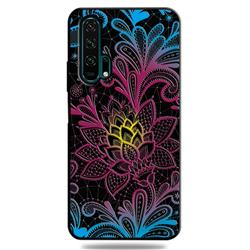 Colorful Lace 3D Embossed Relief Black TPU Cell Phone Back Cover for Huawei Honor 20 Pro