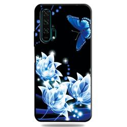 Blue Butterfly 3D Embossed Relief Black TPU Cell Phone Back Cover for Huawei Honor 20 Pro