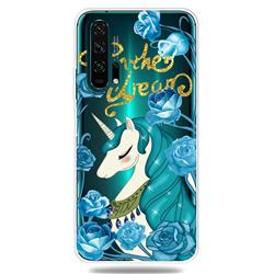 Blue Flower Unicorn Clear Varnish Soft Phone Back Cover for Huawei Honor 20 Pro