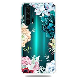Gem Flower Clear Varnish Soft Phone Back Cover for Huawei Honor 20 Pro