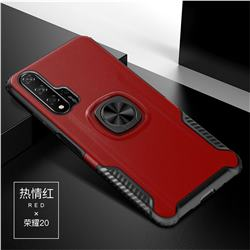 Knight Armor Anti Drop PC + Silicone Invisible Ring Holder Phone Cover for Huawei Honor 20 Pro - Red