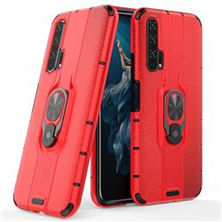 Alita Battle Angel Armor Metal Ring Grip Shockproof Dual Layer Rugged Hard Cover for Huawei Honor 20 Pro - Red