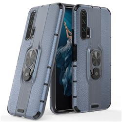 Alita Battle Angel Armor Metal Ring Grip Shockproof Dual Layer Rugged Hard Cover for Huawei Honor 20 Pro - Blue