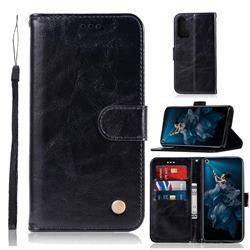 Luxury Retro Leather Wallet Case for Huawei Honor 20 Pro - Black