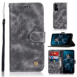 Luxury Retro Leather Wallet Case for Huawei Honor 20 Pro - Gray