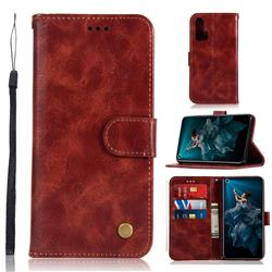 Luxury Retro Leather Wallet Case for Huawei Honor 20 Pro - Wine Red